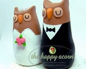 Owl Wedding Cake Topper - READY TO SHIP - by The Happy Acorn