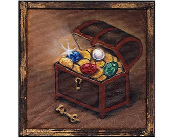 TREASURE original little oil painting 4x4 inches pirate chest jewel box gem gold sparkle key Gorgeous Fine Art Gift - Free shipping in U.S.