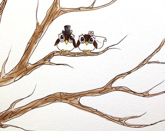 Wedding Tree Guest Book OWLS with top hat and veil ADD-ON Original Watercolor Painting