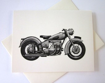 Motorcycle Cards Set of 10 in White or Light Ivory with Matching Envelopes