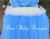 Baby girls first birthday high chair cover & skirt set in soft blue and white Cinderella inspired