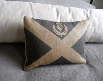 Hand printed little Scottish  Saltire flag cushion