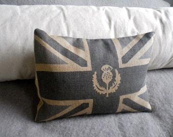 hand printed grey blue Scottish thistle union jack cushion
