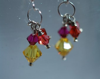 Red, orange, yellow & pink Swarovski crystal earrings. Crystal clusters, Sterling silver, crystal earrings, handmade, wire wrapped earrings.
