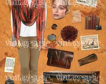 Vintage 1940's Art Paperdoll Collage Sheet 'KATHARINE'  from 'The ENGLISH PATIENT' Digital Download