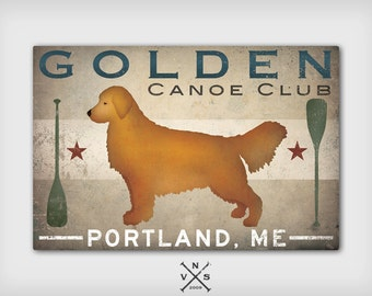 LAKE COTTAGE Dog Golden Retriever CUSTOM Personalized  Stretched Canvas Wall Art Signed Ready to Hang
