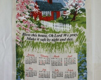 Vintage Calendar Towel 1979 Bless This House Red Farmhouse Linen Kitchen Wallhanging