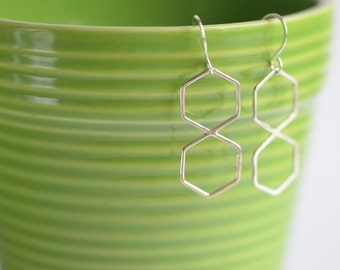 SALE 30% OFF sterling silver double hexagon earrings ready to ship