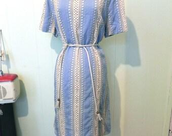 Vintage Dress 60s Blue Striped Emroidered Eyelet Dress  XL XXL - on sale