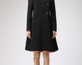 Black Winter Coat with Asymmetric Button Closure - Luxury Cashmere Wool Classical  Jacket  (715)
