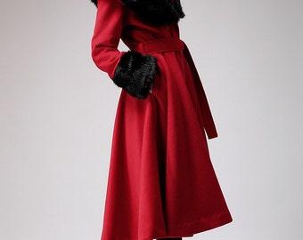 red coat,cashmere coat, winter coat, warm coat, wool coat, Long sleeve  (706)