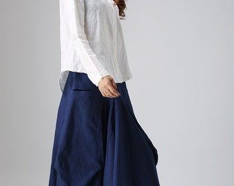 blue skirt, casual skirt,  linen skirt, irregular skirt, pockets skirt, maxi skirt, tiered skirt, casual skirt, fashion clothing (824)