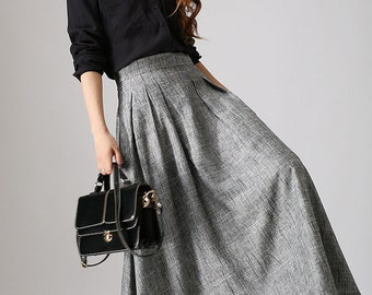 High waisted skirt, long skirt, gray linen skirt, pleated skirt, ladies skirt, A line skirt, classic skirt, retro skirt, womens skirt  (886)