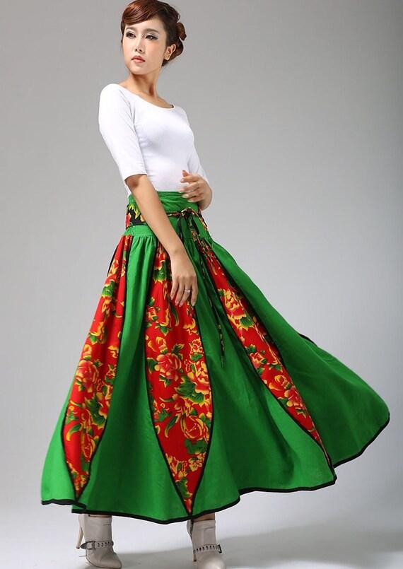 ethnic patchwork skirt, maxi linen skirt, custom made skirt, long skirt, spring skirt, handmade skirt, swing skirt, plus size skirt (691)