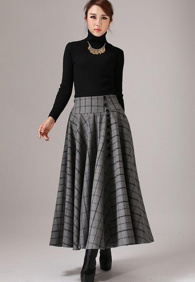 wool plaid skirt winter skirt skirt maxi skirt high