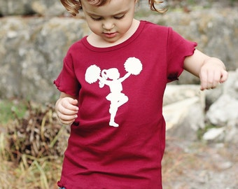 Little Cheerleader Nostalgic Graphic Tee in Short Lettuce Sleeves and Hem - Cardinal with White