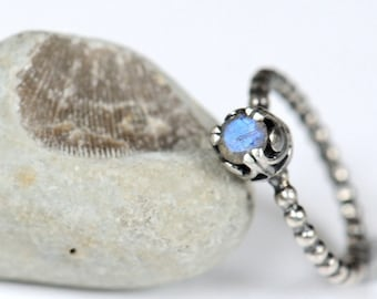 Blue labradorite ring. Sterling silver ring with faceted blue flash labradorite. Made to order.