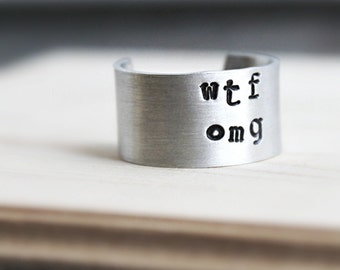 WTF OMG Ring, Funny Jewelry, Funny Ring, Adjustable, Hand Stamped, Best Friend Gift, For Her, For Him