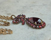 Antique Garnet Bow and Tear Drop Necklace