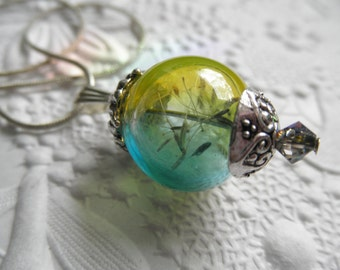 Dandelion Seed Ombre Blue & Yellow Glass Terrarium Reliquary Pendant-Ride The Wind-Sunshine, Blue Skies-Symbolizes Happiness-Gifts For 30