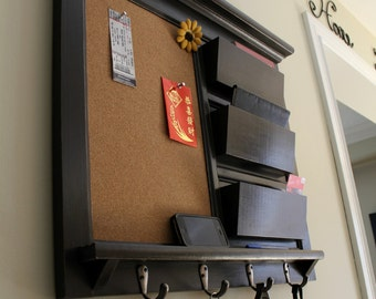Office Organizer Home Decor Mail Organizer Family Planner Paper Organzier Storage with Cork Board, Chalkboard, or Dry Erase and key hooks