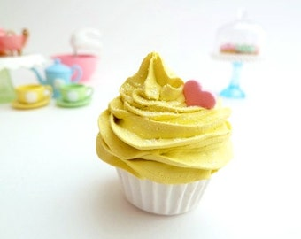 Fake mini Cupcake magnet or charm for the rear view car mirror , bag charm ,christmas tree ornament  ,refrigerator magnet, yellow
