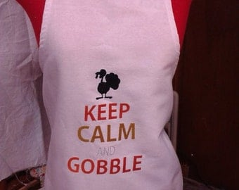 Embroidered  Apron -KEEP CALM and GOBBLE