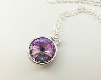 Light Rainbow Necklace Pastel Crystal Necklace Sterling Silver Swarovski Multi Color Crystal Necklace