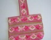 Boho, Hippie, Burlap and Yarn Totebag, handbag, purse, tote. Unique bag pastel pink colors.  Vintage 1970.