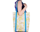 Gray Yellow White Floral Cotton Tote with Teal Lining