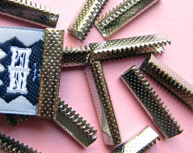 16 pieces 25mm or 1 inch Silver No Loop Ribbon Clamp End Crimps