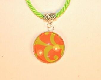 Bright Green and Orange Glass Pendant Necklace