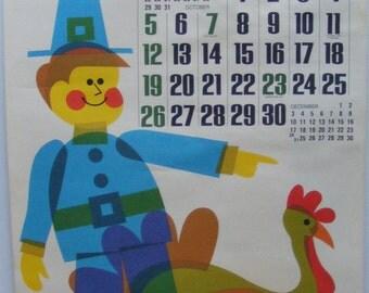 Vintage November 1972 calendar poster