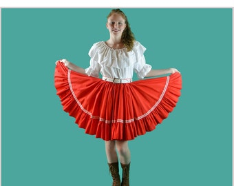Vintage 70s Skirt Ruffled Gypsy Mini Skirt DIRNDL FESTIVAL Full High Waist Rockabilly Square Dance Red Lace Trim Skirt S / Small