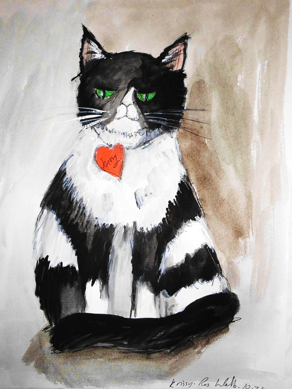 "Cat Art. ""I don't know how to say this ... but you don't have a hamster anymore"". Unique Art  by Irish Artist Ros Webb"