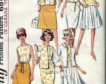 Vintage 1960s Pleated or A Line Skirt..Sleeveless Shift Dress..Collarless Jacket and Blouse...1965 Simplicity 5927 Bust 32