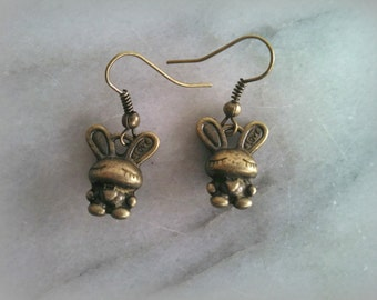 Bunny Love Earrings, Antique Bronze Metal, Bunny Rabbit, Dangle Earrings, Gift For Her, By ktnunna