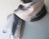 Silk Scarf Hand Painted in Black and Beige