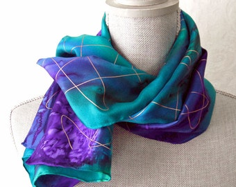 Silk Scarf Handpainted in Amethyst and Emerald with Gold