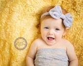 Gray Hair Bow, Gray and Silver Glittery Polka Dot Chiffon Hair Bow Stretchy Headband or Hair Clip, Baby Toddler Child Girls Headband