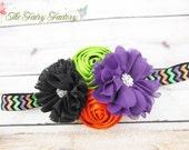 Halloween Headband, Satin & Chiffon Flowers w/ Rhinestones Glitter Chevron Headband or Hair Clip, Orange Black Purple, Child Girls Headband