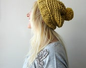 Womens Pom Pom Hat- Slouchy Beanie- Slouchy Pompom Hat- Winter Accessories- Mustard Yellow- Hand Knitted Beanie- Gift for Her- Womens Gift