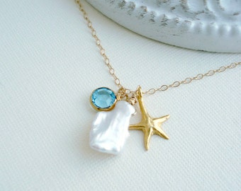 Gold Starfish Necklace Gold Starfish Pendant Pearl Necklace Sea Star Wedding Jewelry Beach Necklace Beach Wedding Aqua Blue Gift For Her