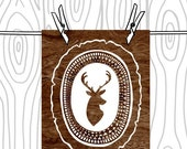 Tribal Deer  Head Silhouette Art Print  -  Dark Brown and White Woodgrain Wood Slice Wall Art  - 8 x 10 Woodland Wall Art