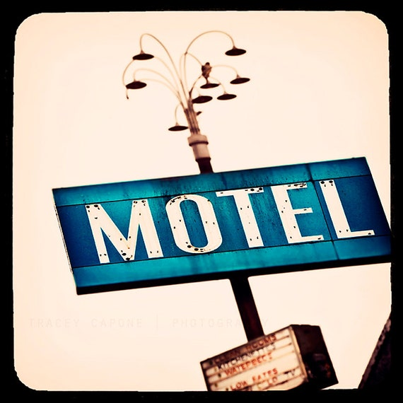 Chicago Motel Sign Print - retro inspired photography -  peacock blue, blush, Chicago Photography, vintage motel sign, whimsical home deoor