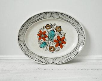 Vintage Kathie Winkle Platter, Mid Century Modern Plates, Vintage Dinnerware, Danish Design, Orange, Blue, Brown