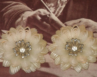 CLEARANCE SALE - White Lacy Plastic Floral Earrings  (E-1-1)