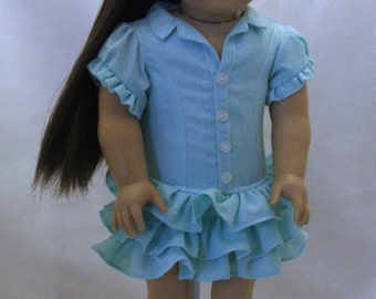 "Outback fun dress and bowtie shoes  fits American girl and other 18"" dolls"
