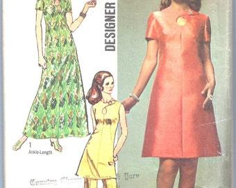 Vintage 60s Mod Dress Pattern Neckline Keyhole Designer Fashion Simplicity 9014 36 bust size 14 M