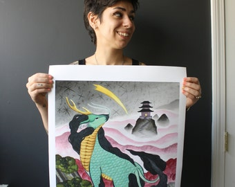 "Double Tail Kirin - Large 16x20"" Giclee Print"